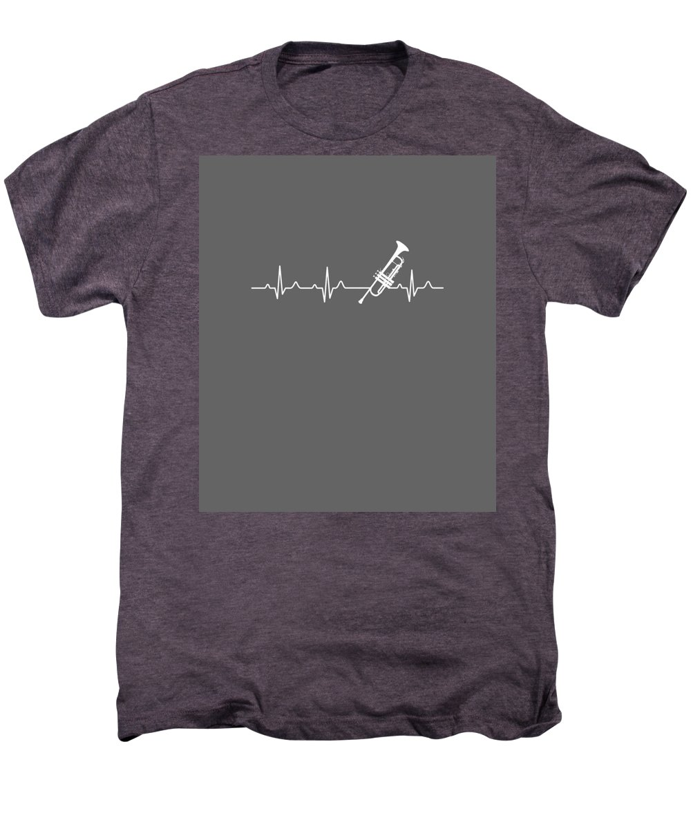 Trumpet Men's Premium T-Shirt featuring the digital art Trumpet Heartbeat For Your Hobbie Tees by Unique Tees
