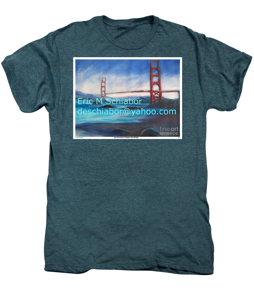 California Coast Men's Premium T-Shirt featuring the painting San Francisco Golden Gate Bridge by Eric Schiabor