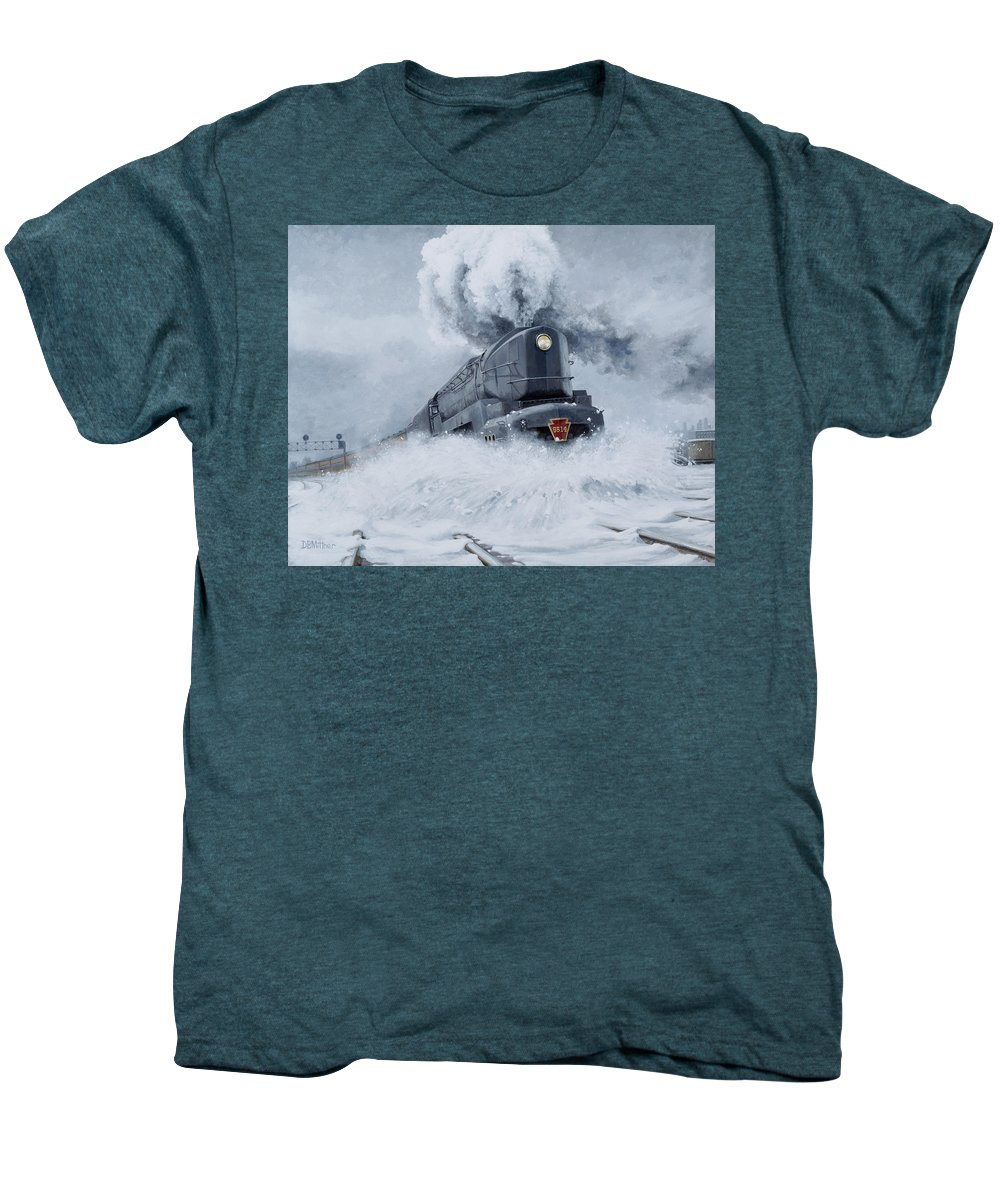 Trains Men's Premium T-Shirt featuring the painting Dashing Through The Snow by David Mittner