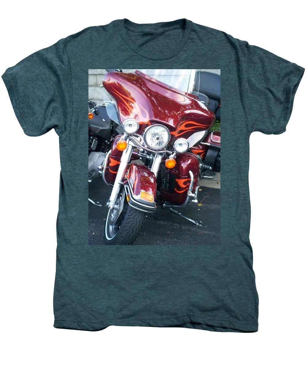 Motorcycles Men's Premium T-Shirt featuring the photograph Harley Red W Orange Flames by Anita Burgermeister