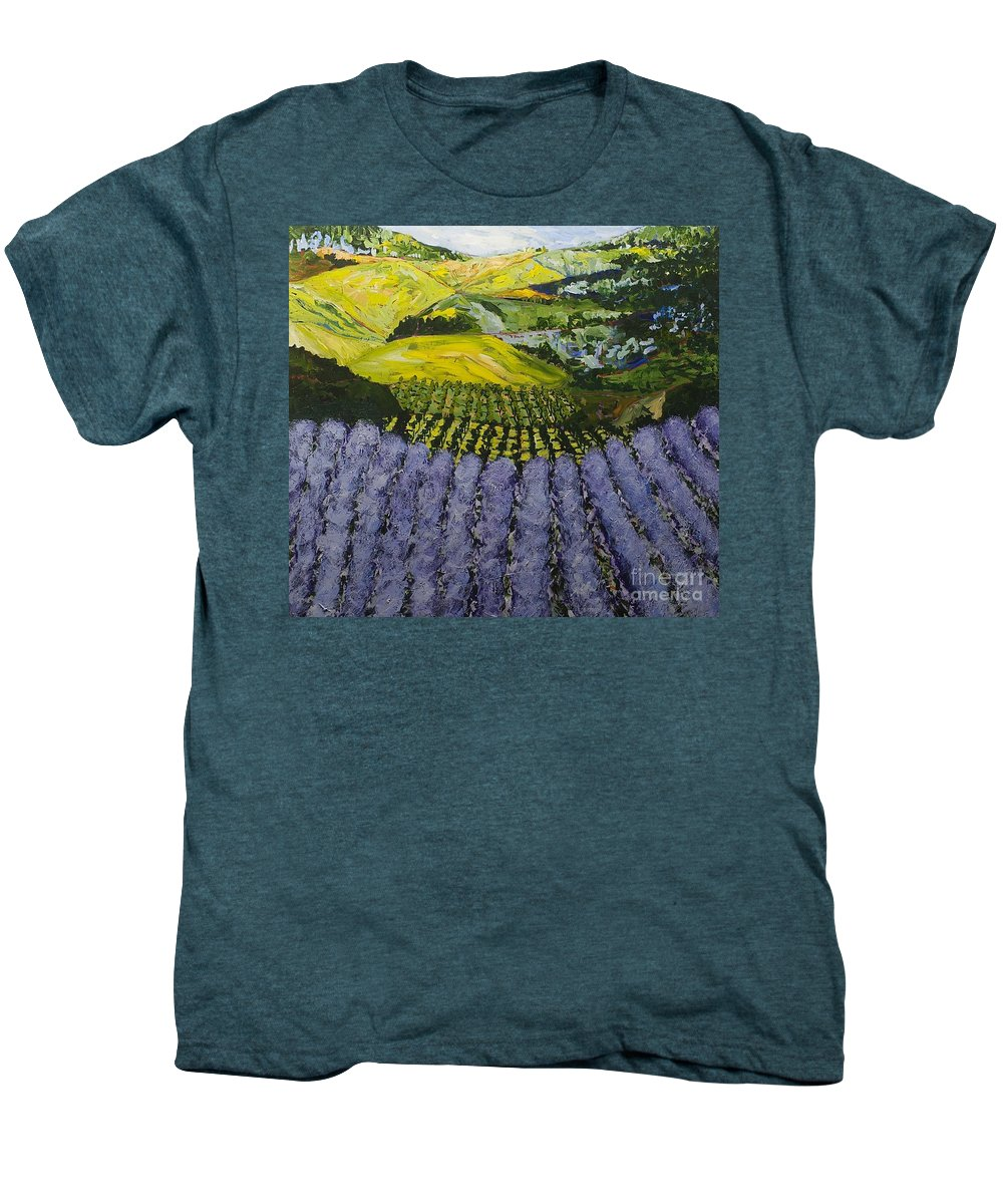 Landscape Men's Premium T-Shirt featuring the painting Heavenly Valley by Allan P Friedlander