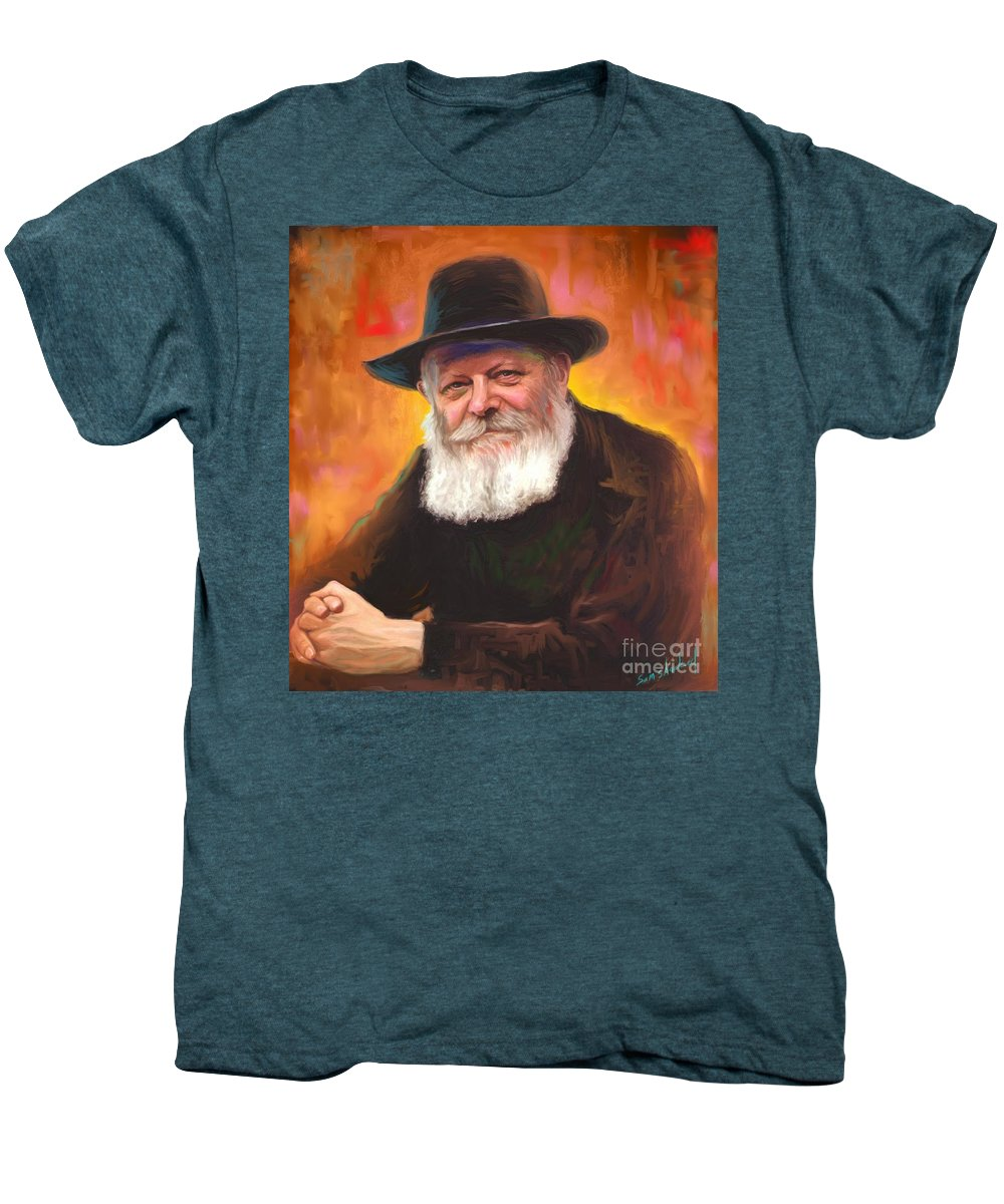 Lubavitcher Rebbe Men's Premium T-Shirt featuring the painting Lubavitcher Rebbe by Sam Shacked