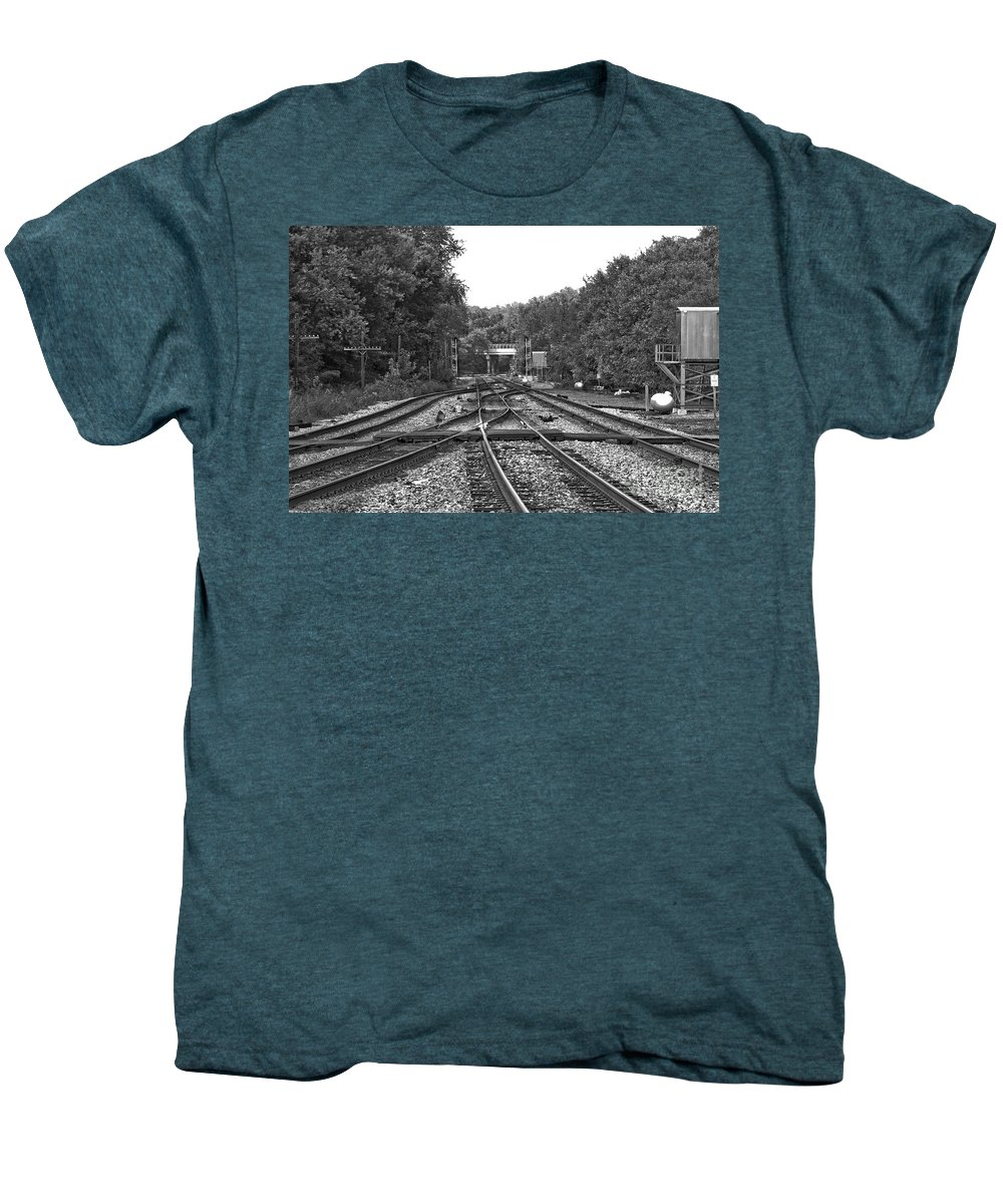 Railroad Men's Premium T-Shirt featuring the photograph Steel Rail Intersections.  Point Of Rocks Md by Thomas Marchessault