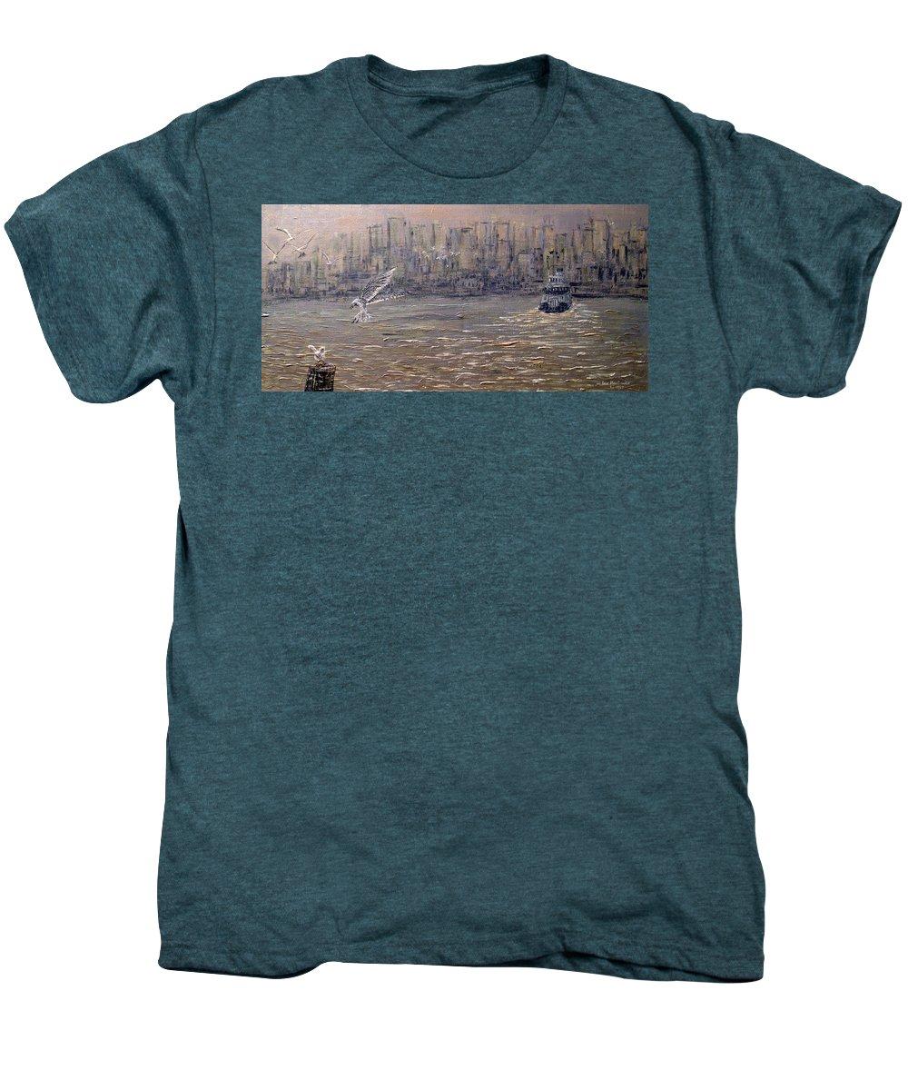 Toronto Men's Premium T-Shirt featuring the painting Toronto Harbor Morning by Ian MacDonald