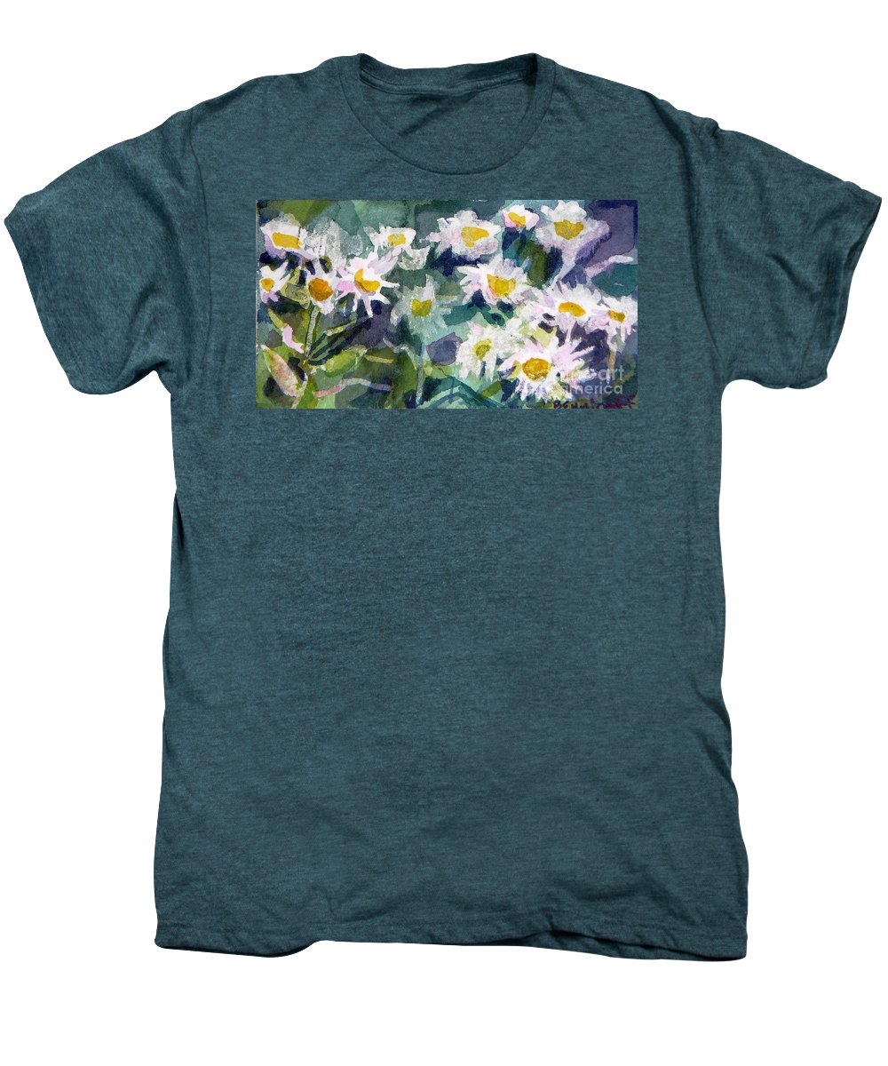 Flowers Men's Premium T-Shirt featuring the painting Little Asters by Jan Bennicoff