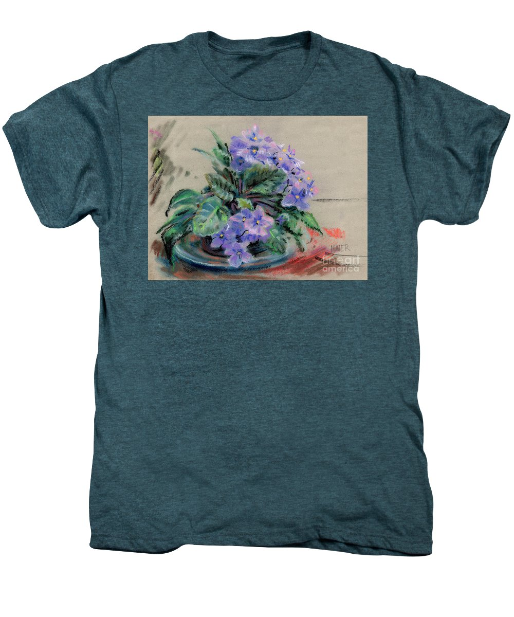African Violets Men's Premium T-Shirt featuring the drawing African Violet by Donald Maier