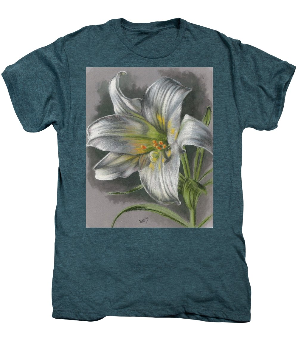 Easter Lily Men's Premium T-Shirt featuring the mixed media Arise by Barbara Keith