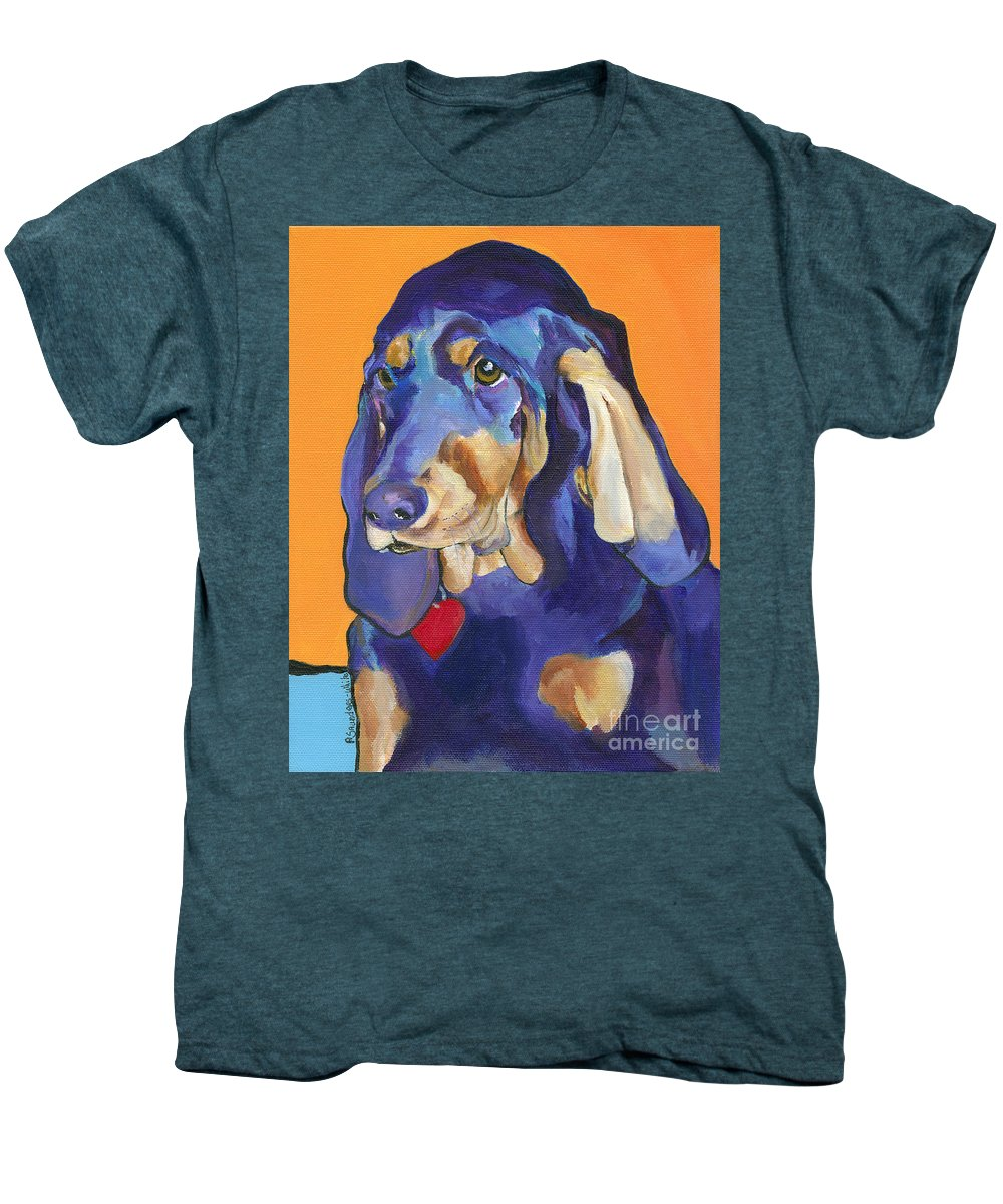 Bloodhound Men's Premium T-Shirt featuring the painting Augie by Pat Saunders-White