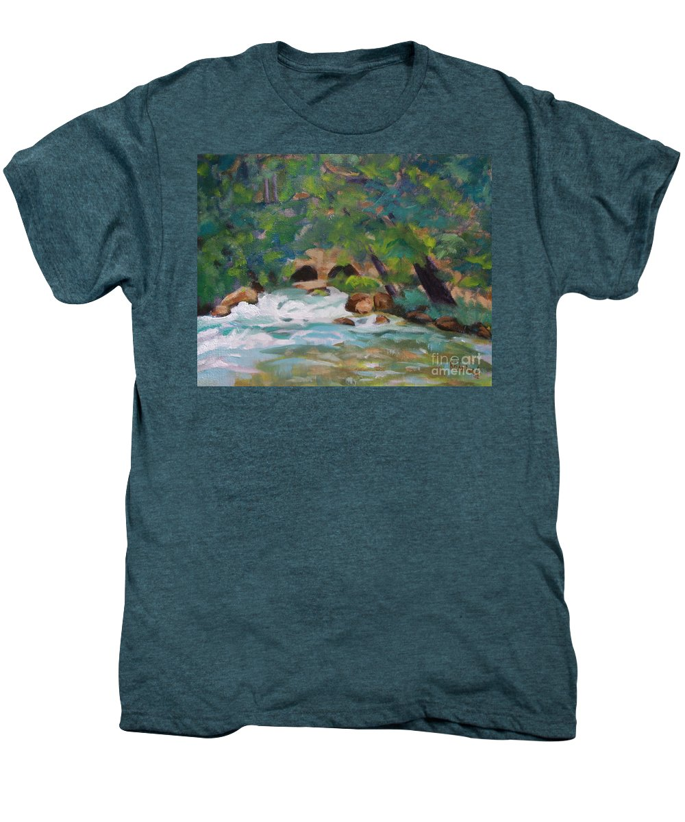 Impressionistic Men's Premium T-Shirt featuring the painting Big Spring On The Current River by Jan Bennicoff