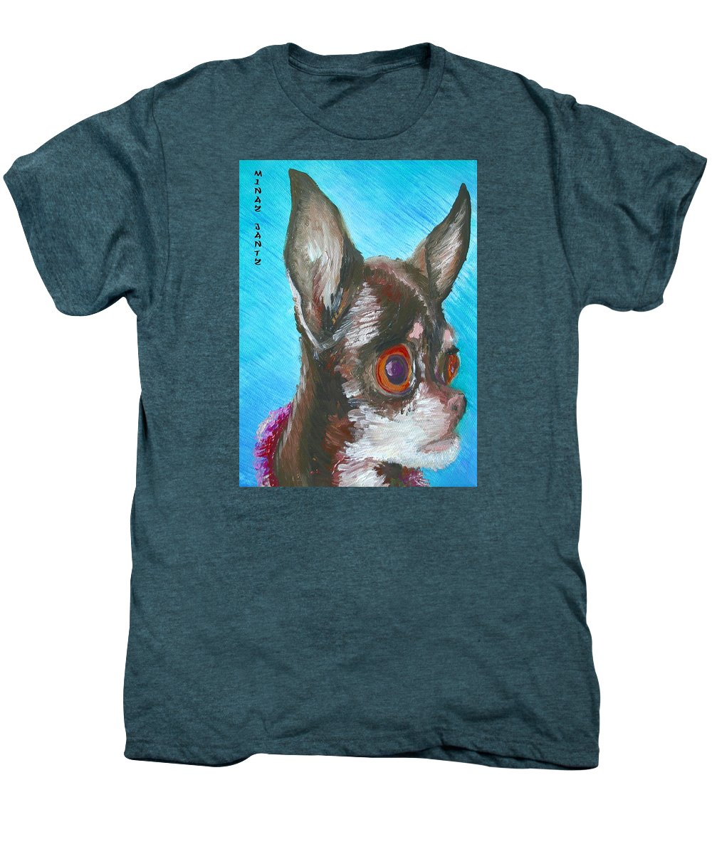 Dog Men's Premium T-Shirt featuring the painting Chili Chihuahua by Minaz Jantz