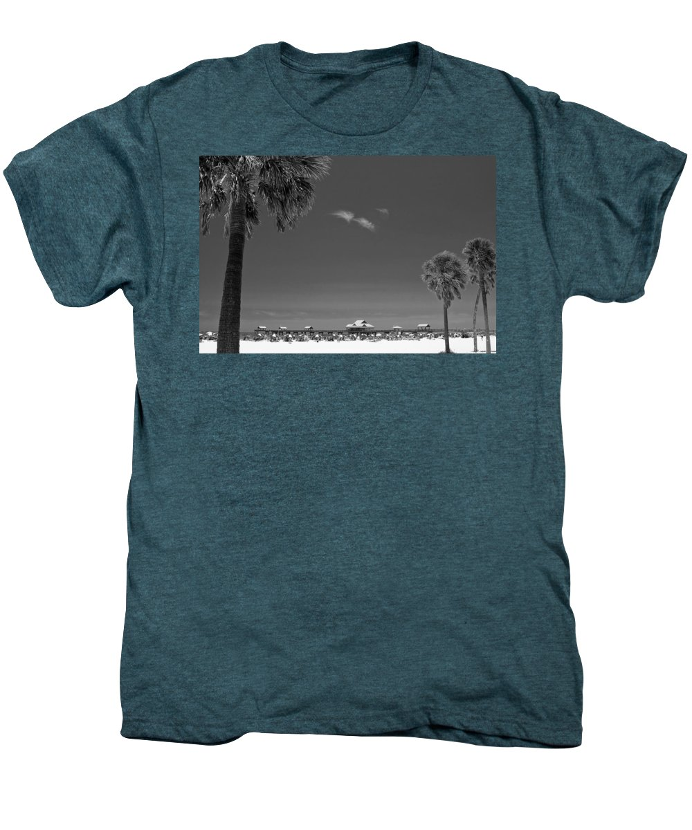 B&w Men's Premium T-Shirt featuring the photograph Clearwater Beach Bw by Adam Romanowicz
