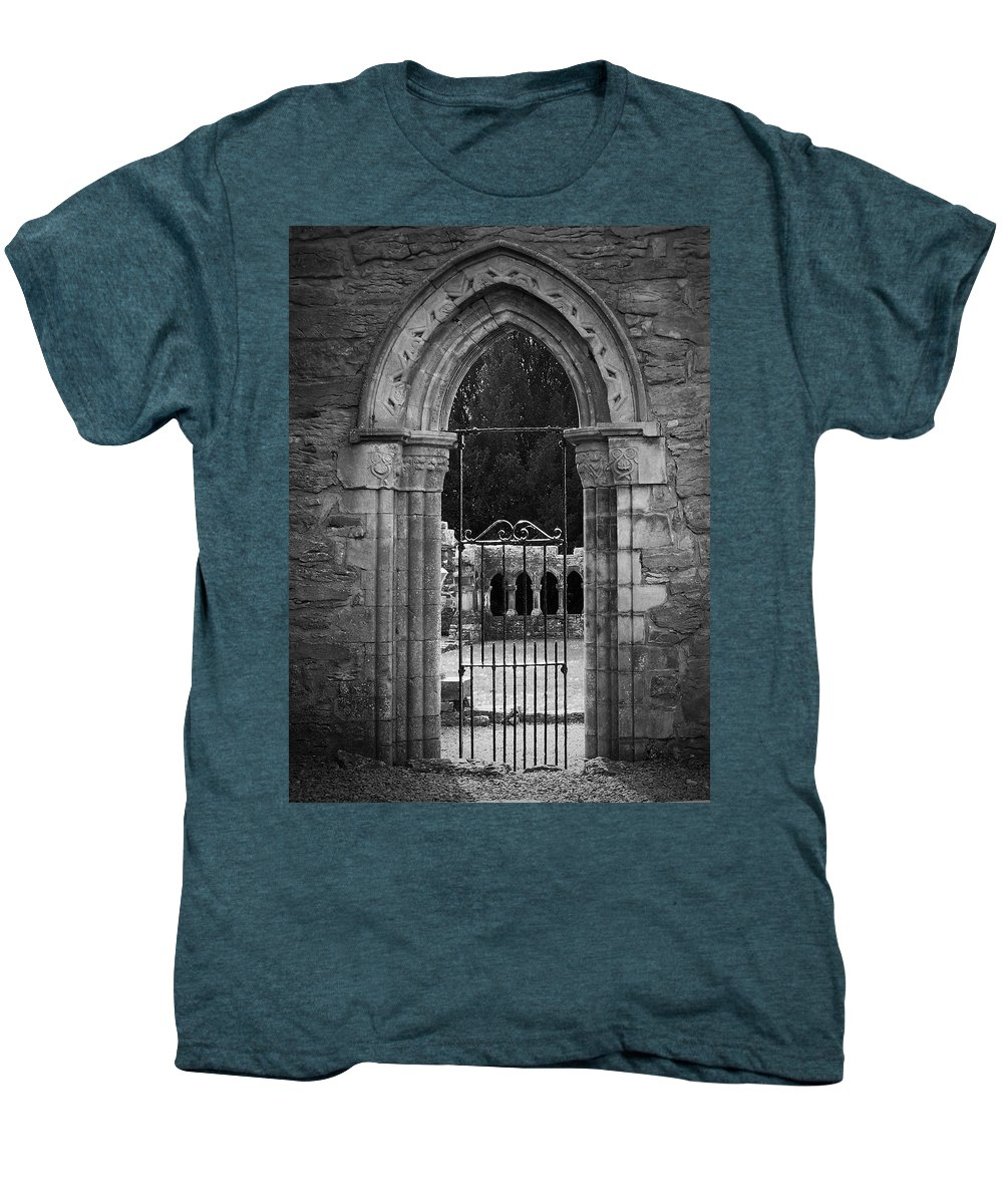 Irish Men's Premium T-Shirt featuring the photograph Cloister View Cong Abbey Cong Ireland by Teresa Mucha