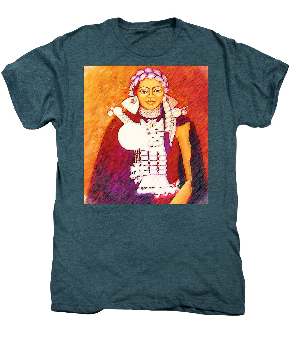 Portrait Men's Premium T-Shirt featuring the painting Daughter Of The Bright Sun - Kushe by Madalena Lobao-Tello