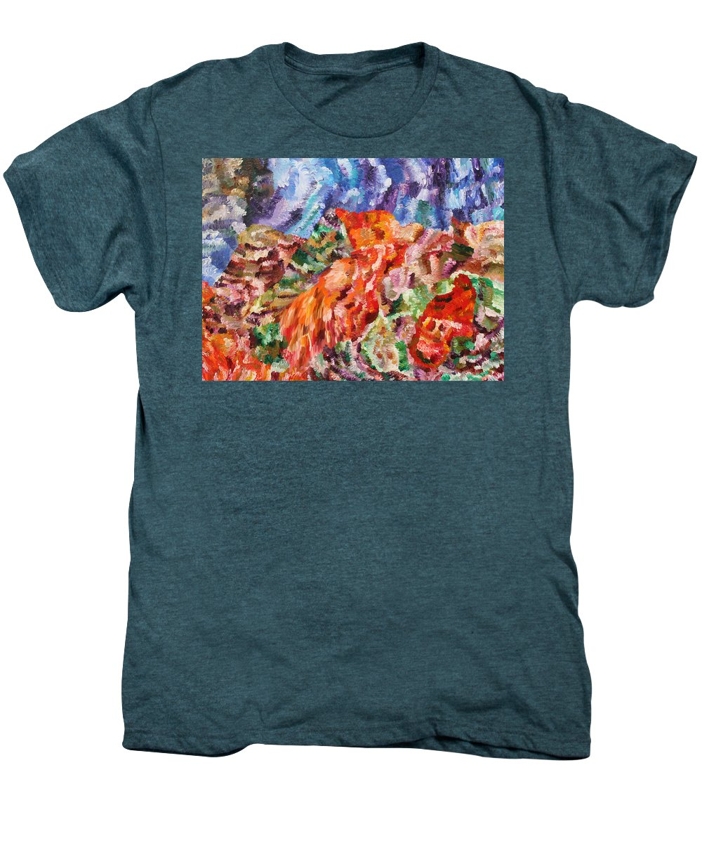Fusionart Men's Premium T-Shirt featuring the painting Flock by Ralph White