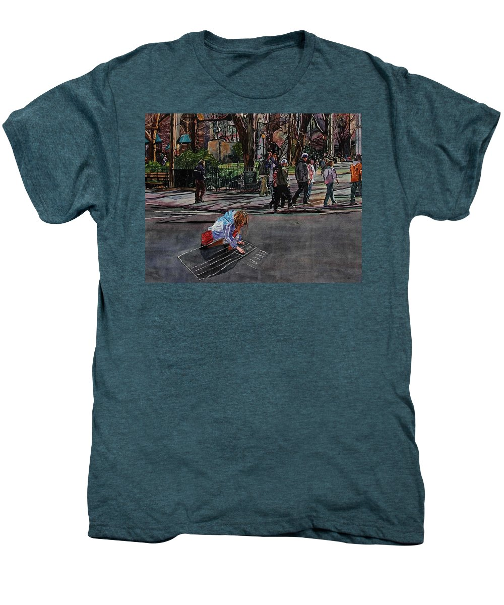 Political Men's Premium T-Shirt featuring the painting Help by Valerie Patterson