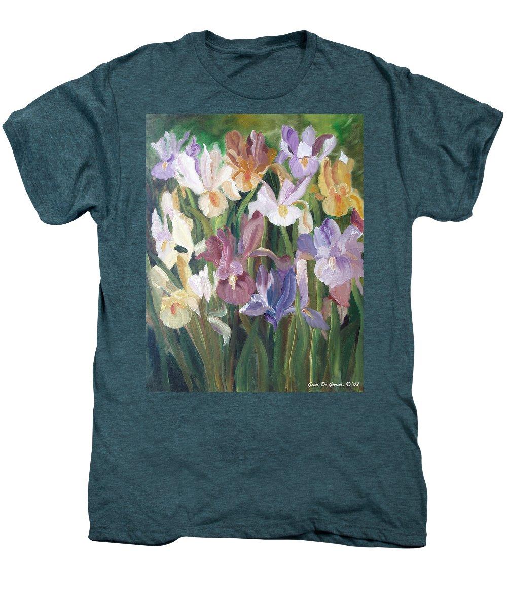 Irises Men's Premium T-Shirt featuring the painting Irises by Gina De Gorna