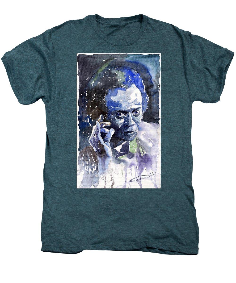 5229eff42 Jazz Men's Premium T-Shirt featuring the painting Jazz Miles Davis 11 Blue  by Yuriy