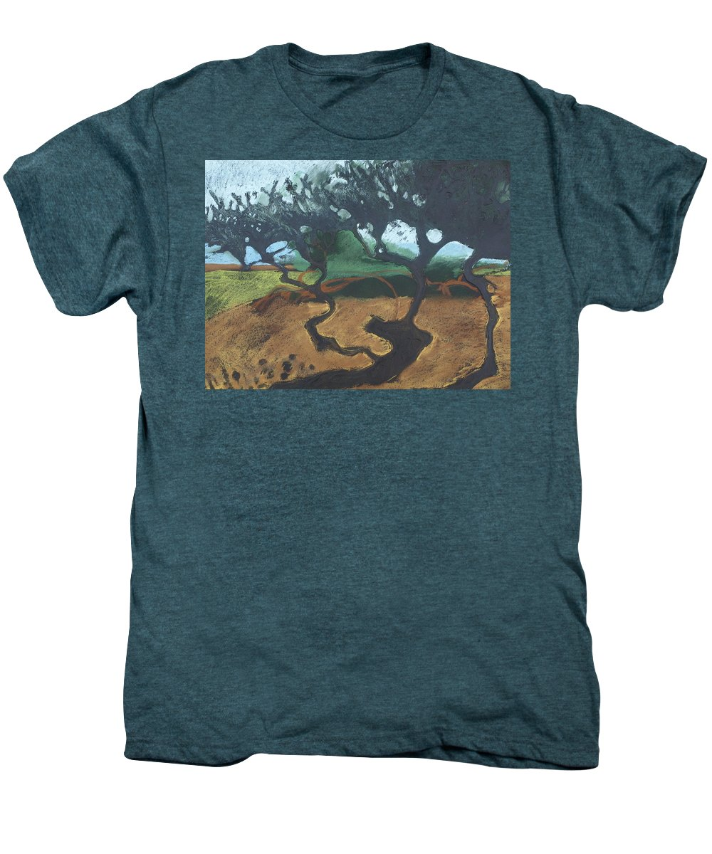Contemporary Tree Landscape Men's Premium T-Shirt featuring the drawing La Jolla I by Leah Tomaino