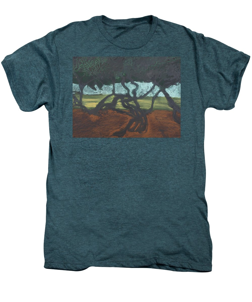 Contemporary Tree Landscape Men's Premium T-Shirt featuring the mixed media La Jolla II by Leah Tomaino
