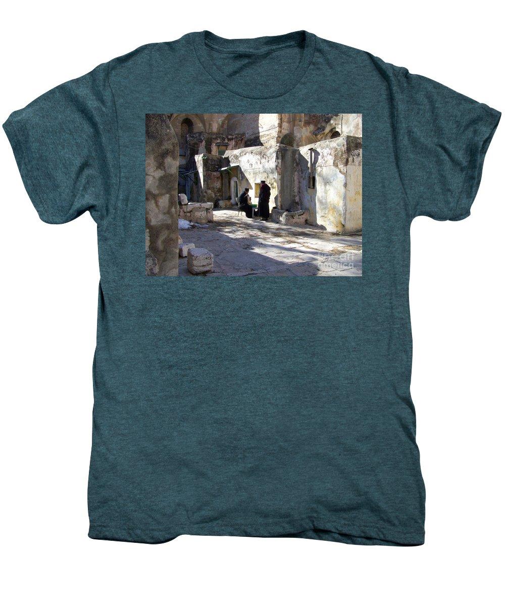 Jerusalem Men's Premium T-Shirt featuring the photograph Morning Conversation by Kathy McClure