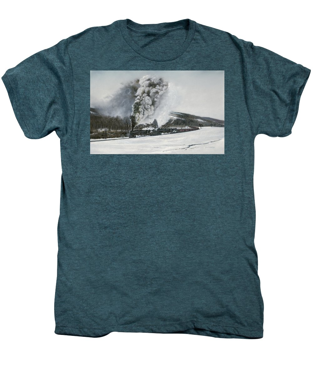 Trains Men's Premium T-Shirt featuring the painting Mount Carmel Eruption by David Mittner