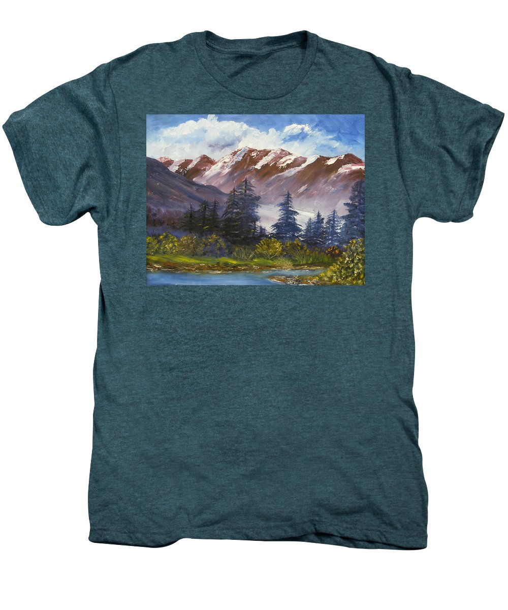 Oil Painting Men's Premium T-Shirt featuring the painting Mountains I by Lessandra Grimley
