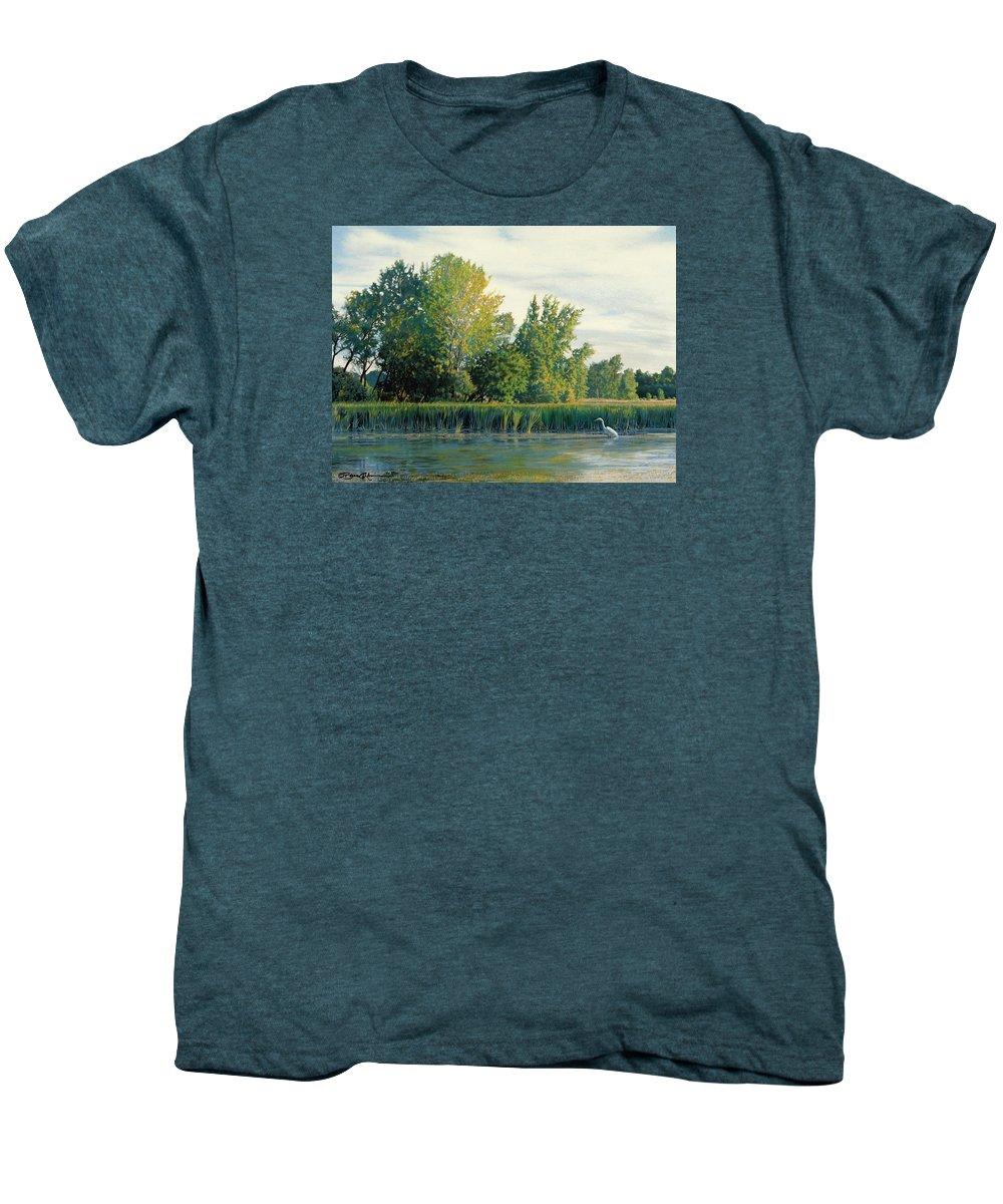Great Egret Men's Premium T-Shirt featuring the drawing North Of The Grade-great Egret by Bruce Morrison