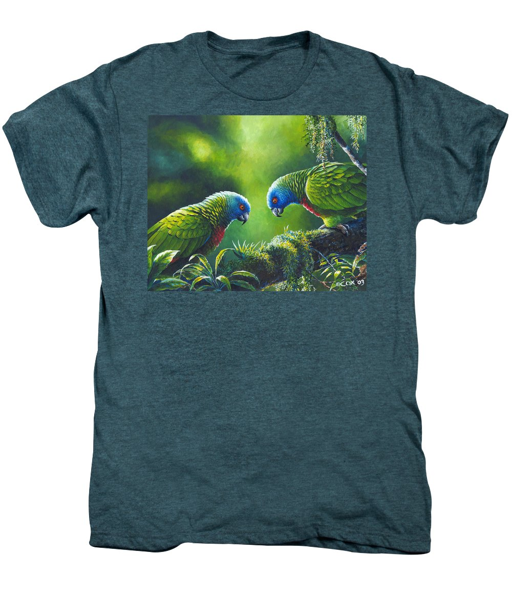 Chris Cox Men's Premium T-Shirt featuring the painting Out On A Limb - St. Lucia Parrots by Christopher Cox