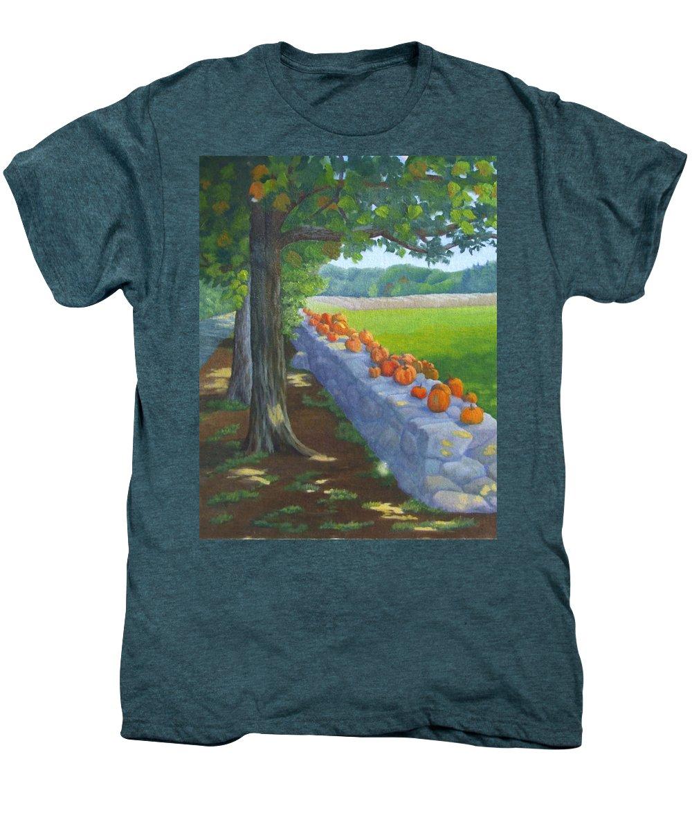 Pumpkins Men's Premium T-Shirt featuring the painting Pumpkin Muster by Sharon E Allen