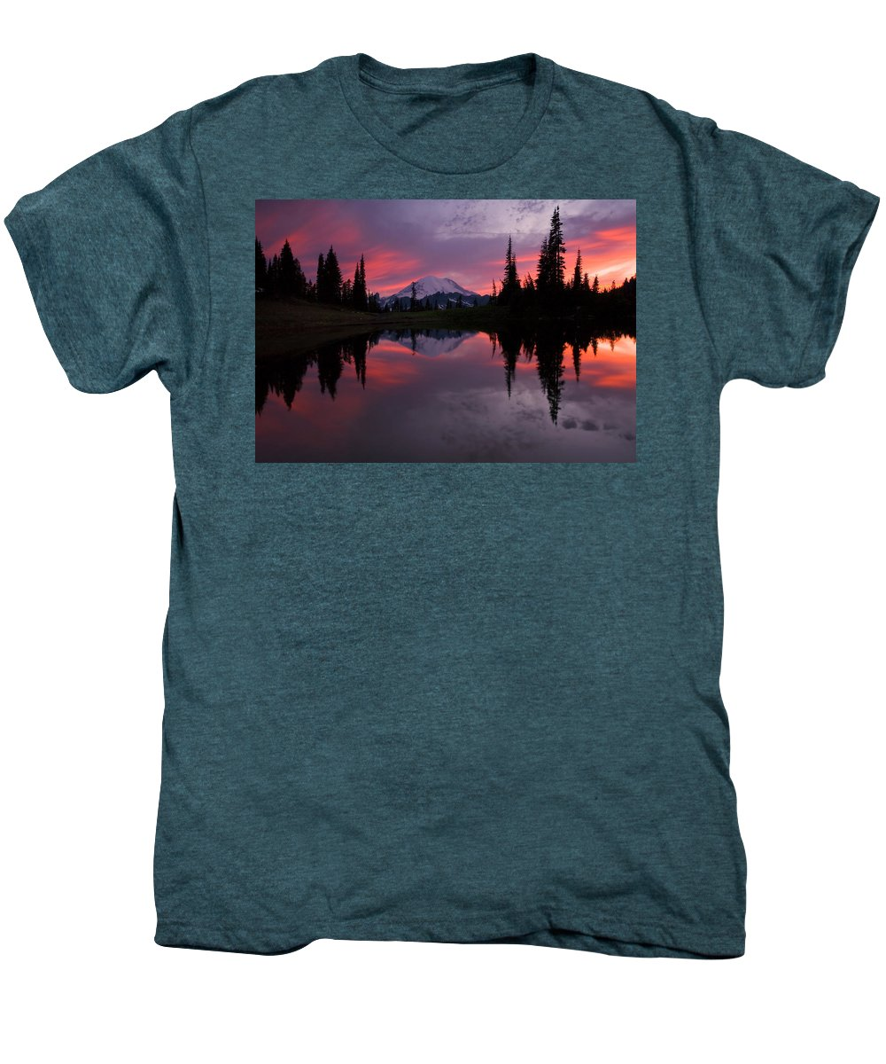 Rainier Men's Premium T-Shirt featuring the photograph Red Sky At Night by Mike Dawson