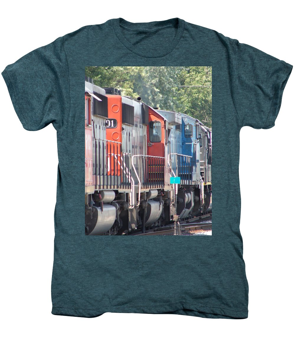 Men's Premium T-Shirt featuring the photograph Sitting In The Switching Yard by J R  Seymour