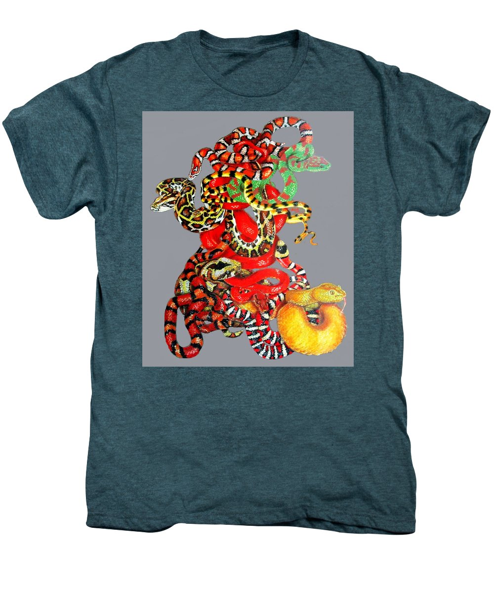 Reptile Men's Premium T-Shirt featuring the drawing Slither by Barbara Keith