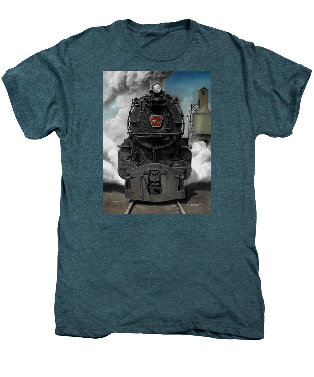 Trains Men's Premium T-Shirt featuring the painting Smoke And Steam by David Mittner