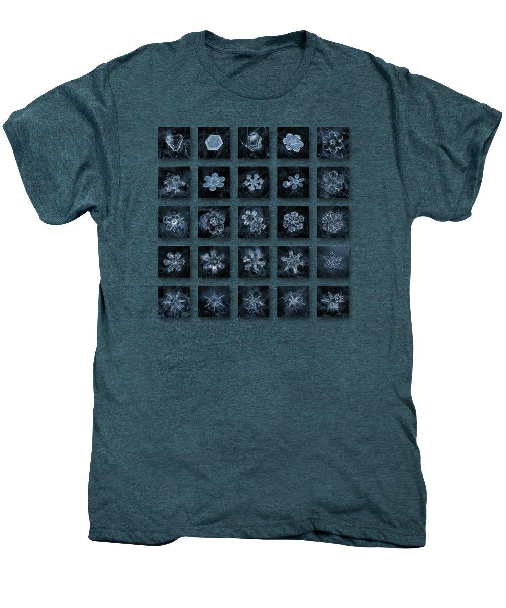 Snowflake Men's Premium T-Shirt featuring the photograph Snowflake Collage - Season 2013 Dark Crystals by Alexey Kljatov
