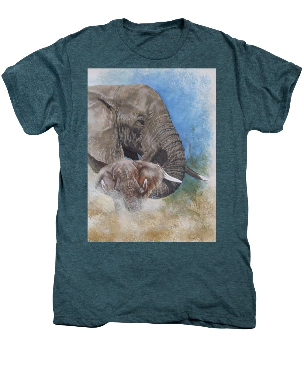 Elephant Men's Premium T-Shirt featuring the mixed media Stalwart by Barbara Keith