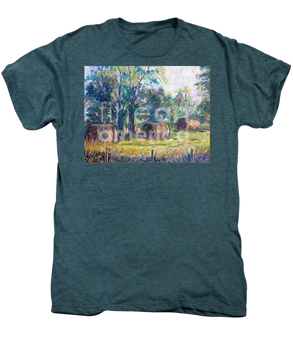 Landscape Men's Premium T-Shirt featuring the painting Summer Idyll by Jan Bennicoff