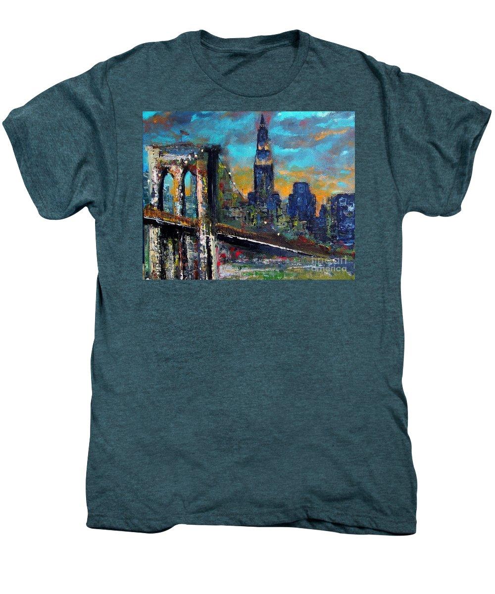 Bridges Men's Premium T-Shirt featuring the painting The Brooklyn Bridge by Frances Marino
