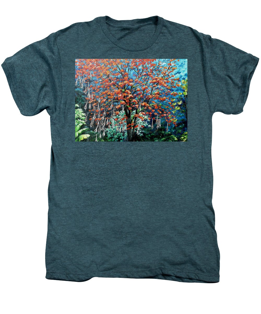 Tree Painting Mountain Painting Floral Painting Caribbean Painting Original Painting Of Immortelle Tree Painting  With Nesting Corn Oropendula Birds Painting In Northern Mountains Of Trinidad And Tobago Painting Men's Premium T-Shirt featuring the painting The Mighty Immortelle by Karin Dawn Kelshall- Best