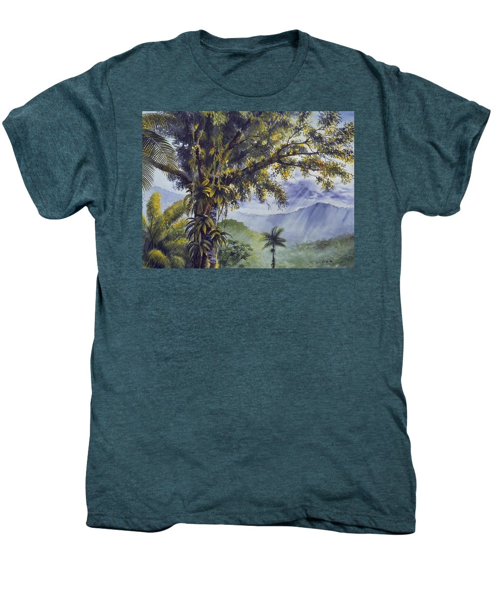 Chris Cox Men's Premium T-Shirt featuring the painting Through The Canopy by Christopher Cox
