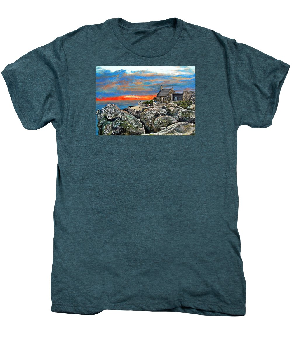 Sunset Men's Premium T-Shirt featuring the painting Top Of Table Mountain by Michael Durst