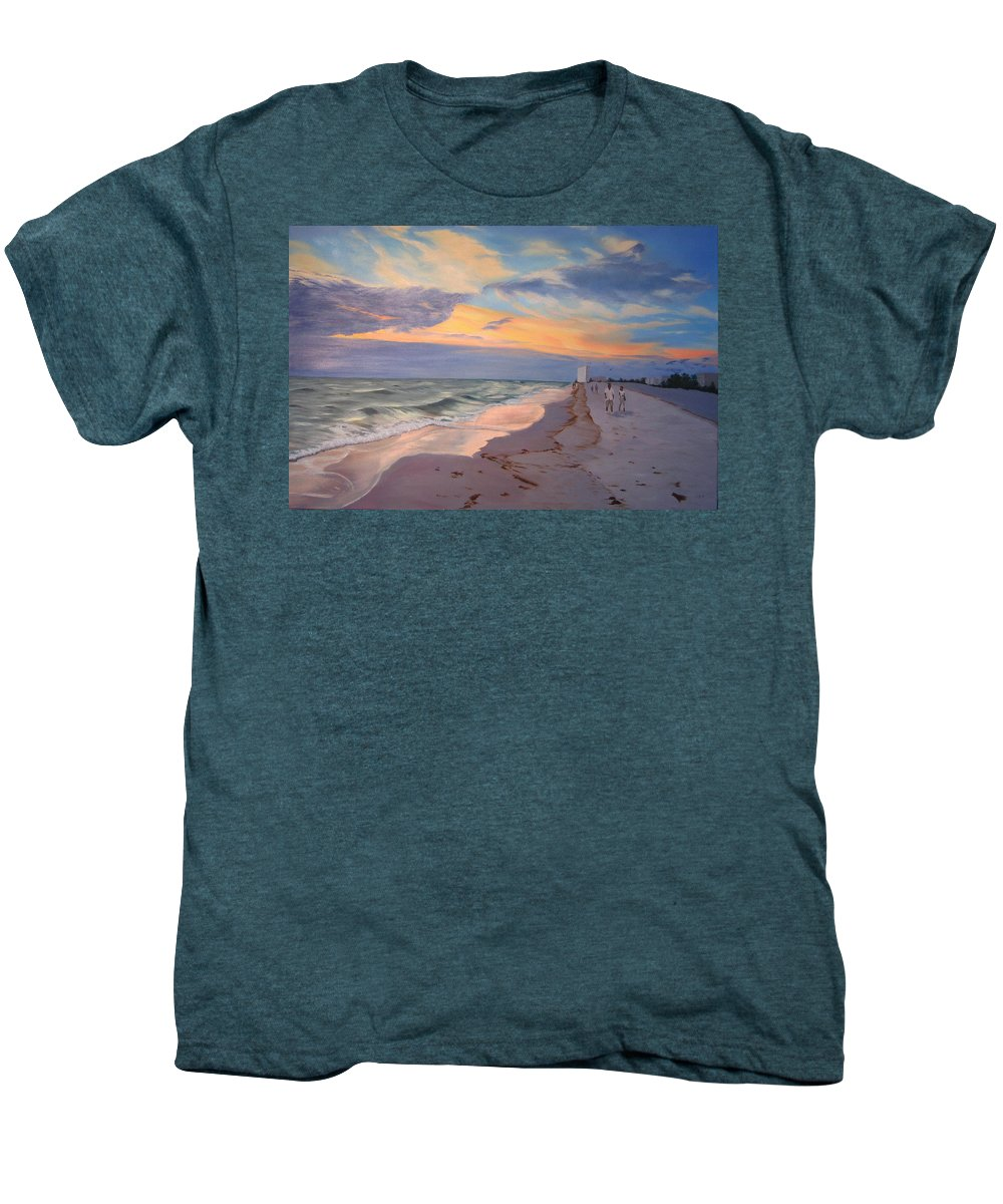 Seascape Men's Premium T-Shirt featuring the painting Walking On The Beach At Sunset by Lea Novak