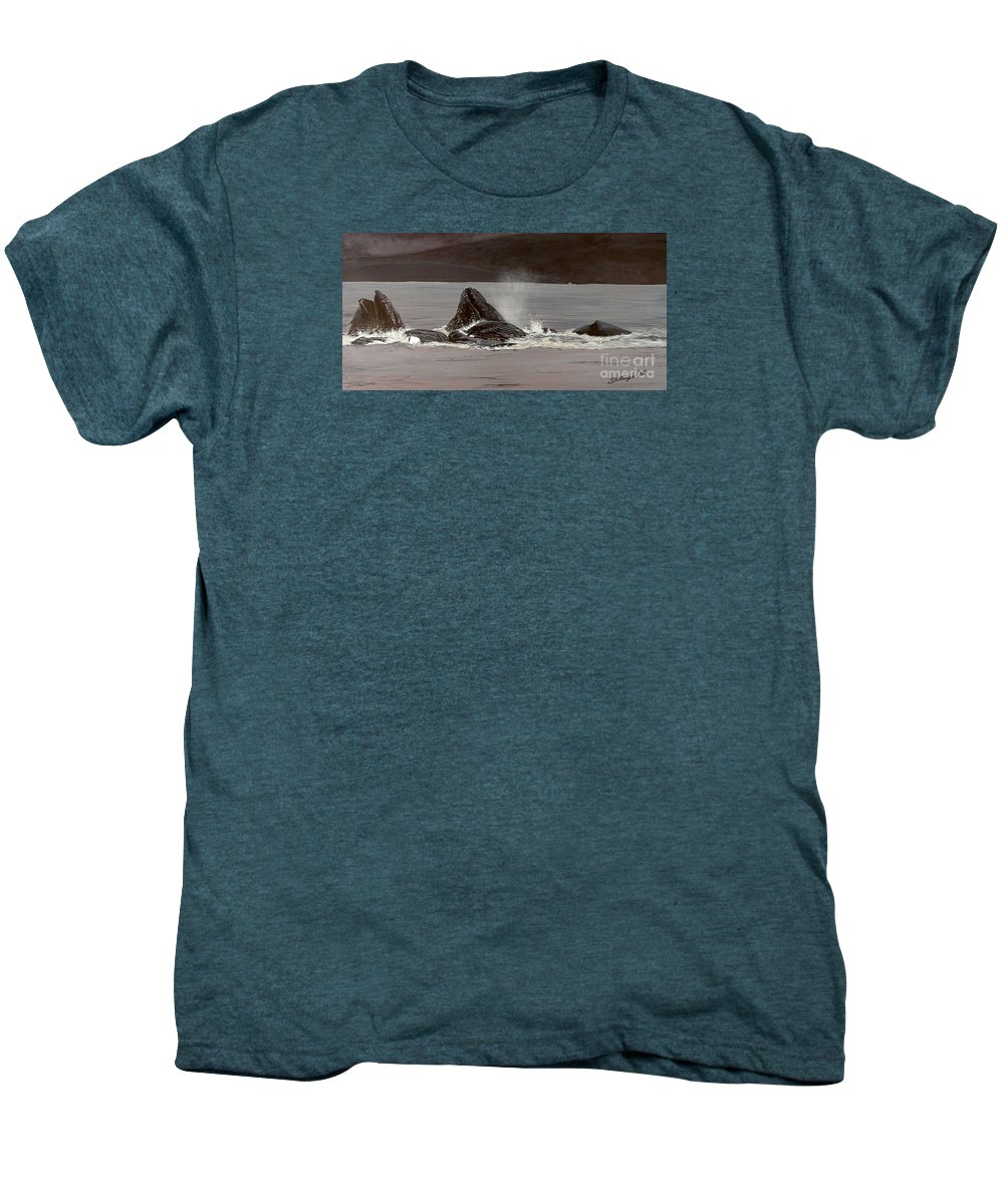 Whale Men's Premium T-Shirt featuring the painting Whales Feeding by Shawn Stallings