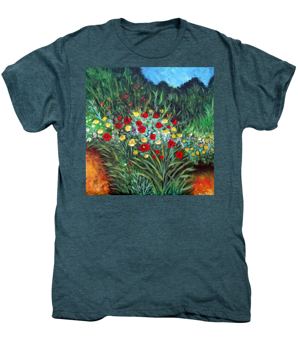 Abstract Men's Premium T-Shirt featuring the painting Wildflower Garden 1 by Nancy Mueller