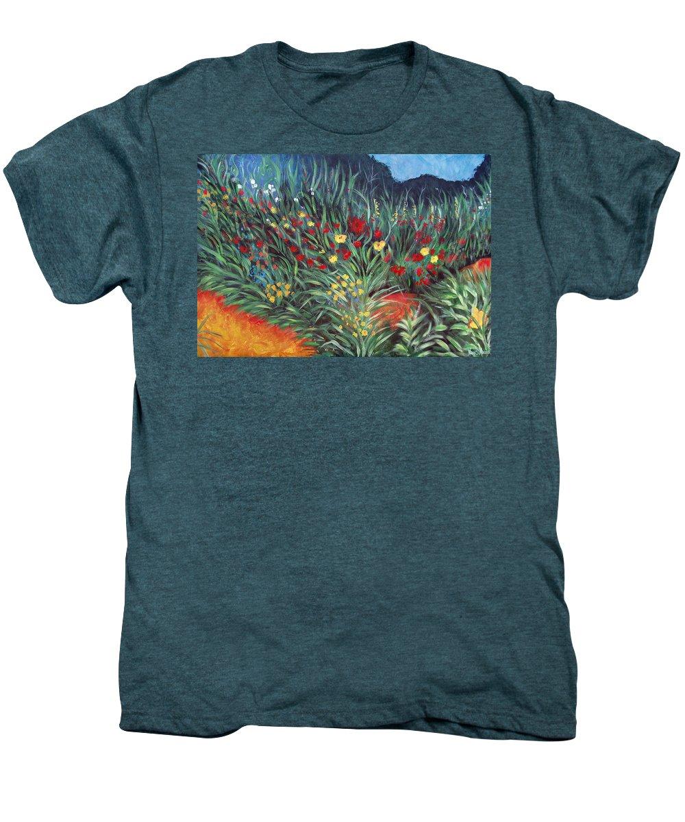 Landscape Men's Premium T-Shirt featuring the painting Wildflower Garden 2 by Nancy Mueller