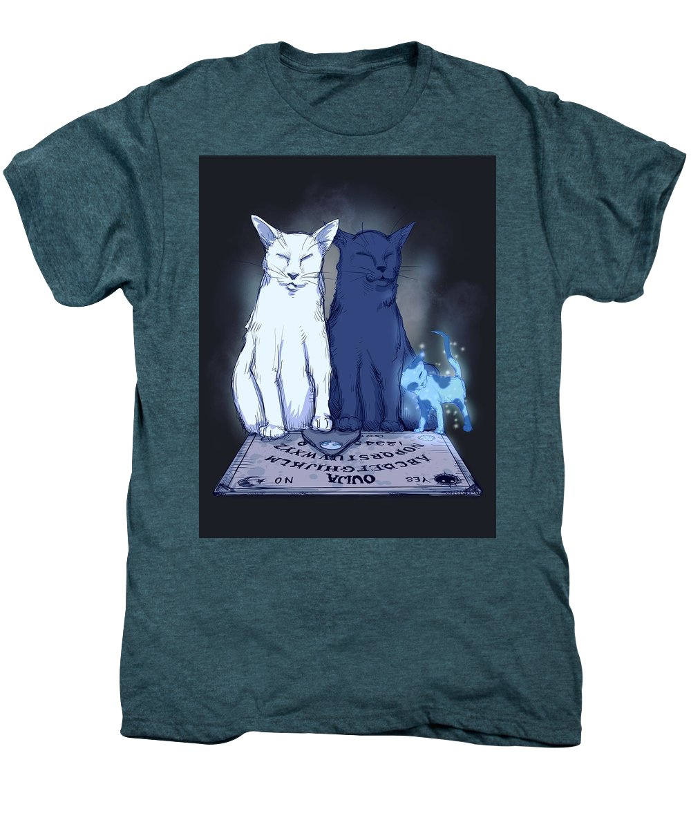 Ghost Kitten Men's Premium T-Shirt featuring the drawing Ghost Kitten by Ludwig Van Bacon