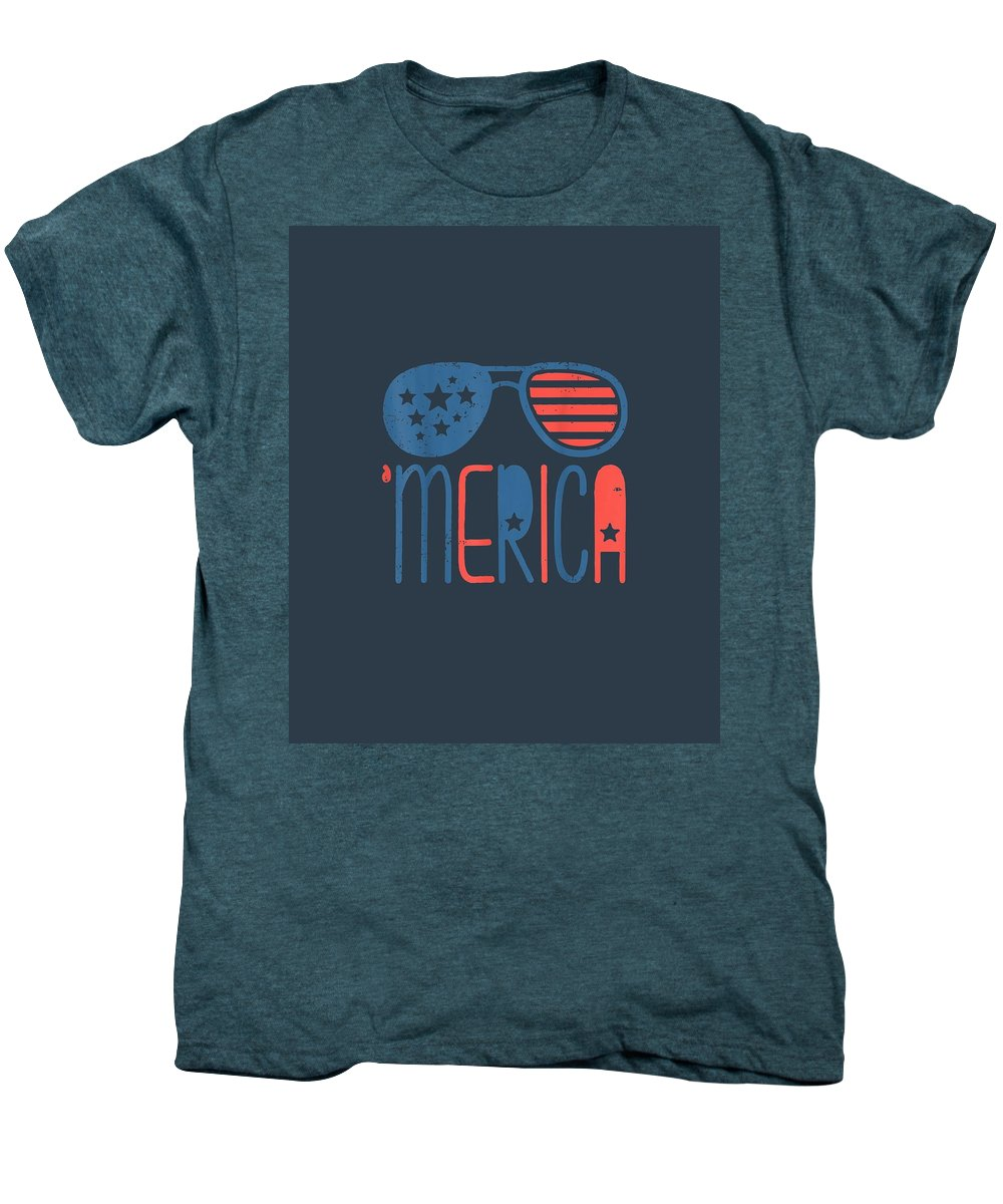 girls' Novelty T-shirts Men's Premium T-Shirt featuring the digital art Merica American Flag Aviators Toddler Tshirt 4th July White by Unique Tees