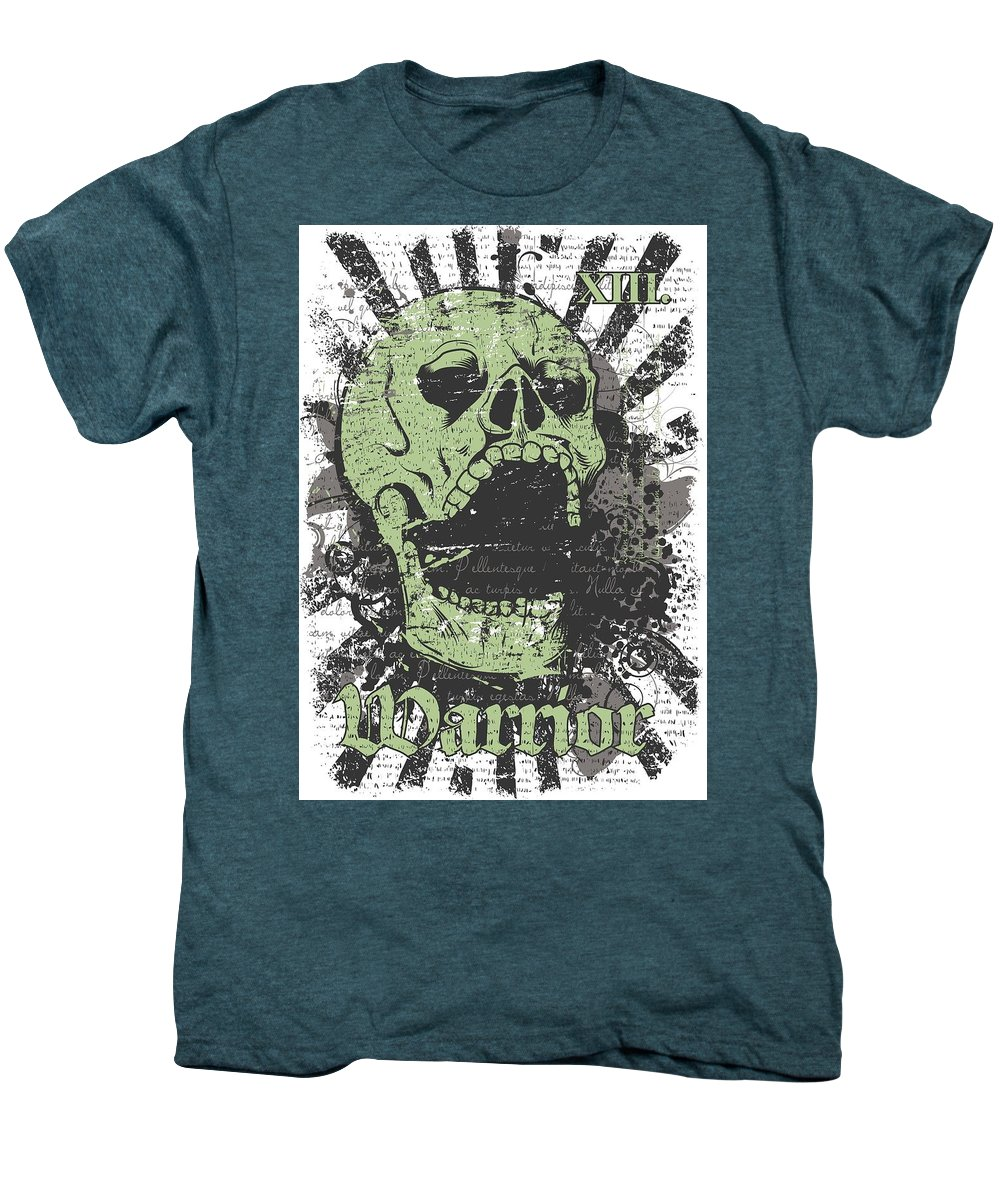 Skull Men's Premium T-Shirt featuring the digital art Warrior Skull And Black Rays by Passion Loft