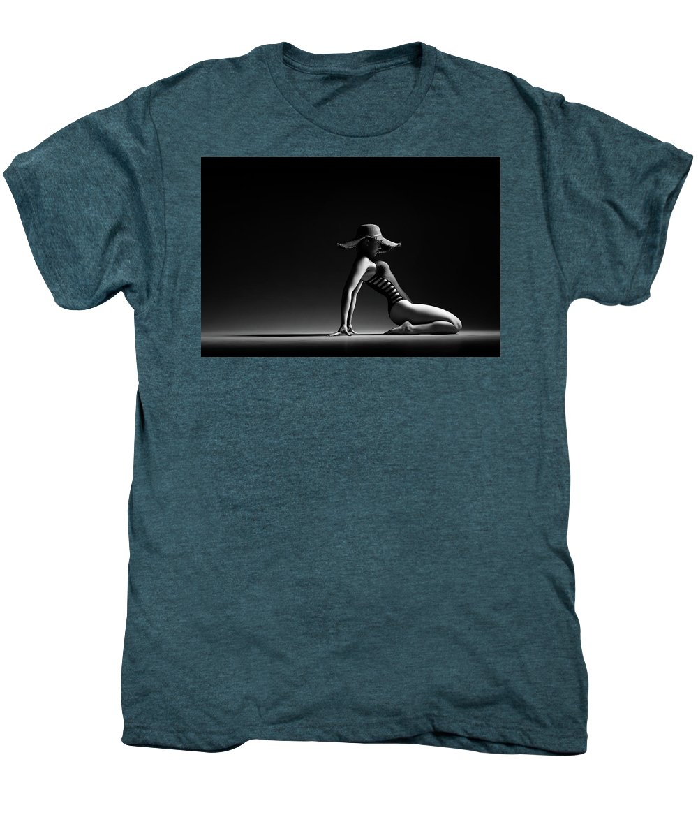Woman Men's Premium T-Shirt featuring the photograph Woman In Black Costume by Johan Swanepoel