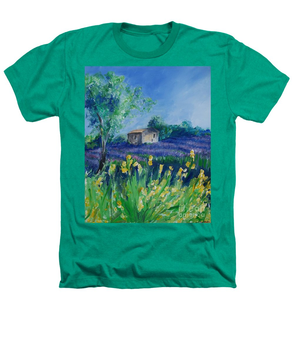 Provence Heathers T-Shirt featuring the painting Provence Lavender Field by Eric Schiabor