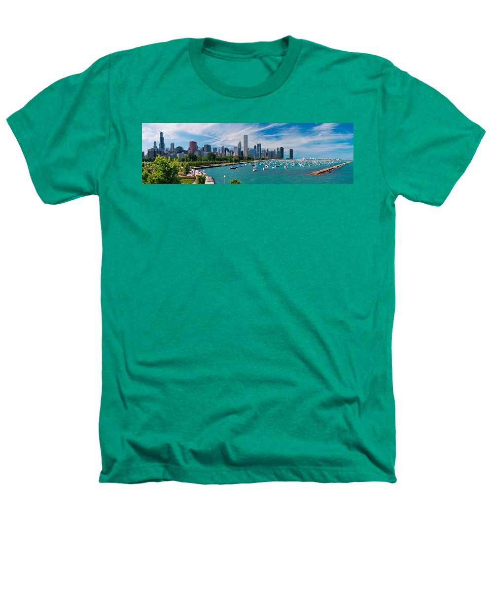 3scape Heathers T-Shirt featuring the photograph Chicago Skyline Daytime Panoramic by Adam Romanowicz